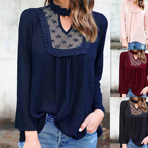 High Neck  Hollow Out Patchwork Plain  Blouses