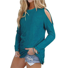 Load image into Gallery viewer, Sexy Shoulder Off Plain Multi-Color Long Sleeve Blouse