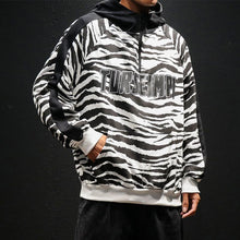 Load image into Gallery viewer, Black White Striped Fashion Hoodie