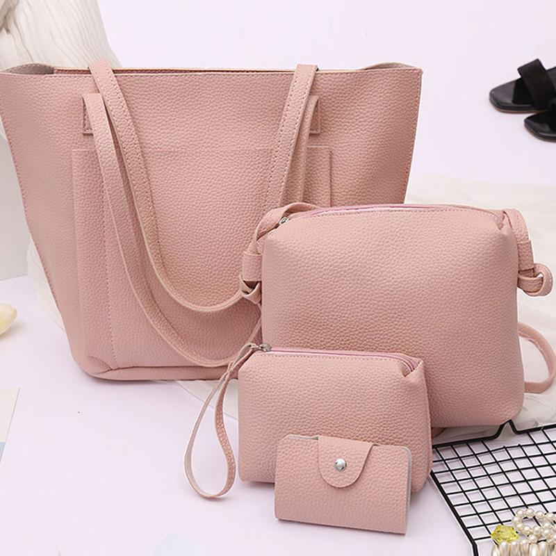 Four Pieces Plain Pu Shoulder Bags