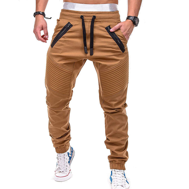 High Street Striped Pleated Zipper Stitching Sweatpants