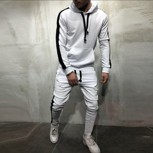 Men's Sport And Leisure Striped Hooded Suit