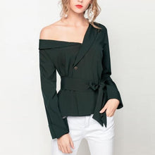 Load image into Gallery viewer, One Shoulder  Plain  Blouses