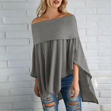 Load image into Gallery viewer, Off Shoulder  Asymmetric Hem Cutout  Curved Hem Smocked Bodice  Plain  Batwing Sleeve Long Sleeve T-Shirts