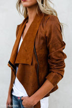 Load image into Gallery viewer, Fold Over Collar  Asymmetric Hem Snap Front Jackets