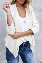 Load image into Gallery viewer, Fold Over Collar  Asymmetric Hem  Plain Jackets