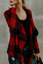 Load image into Gallery viewer, Fold Over Collar  Asymmetric Hem  Plaid Jackets