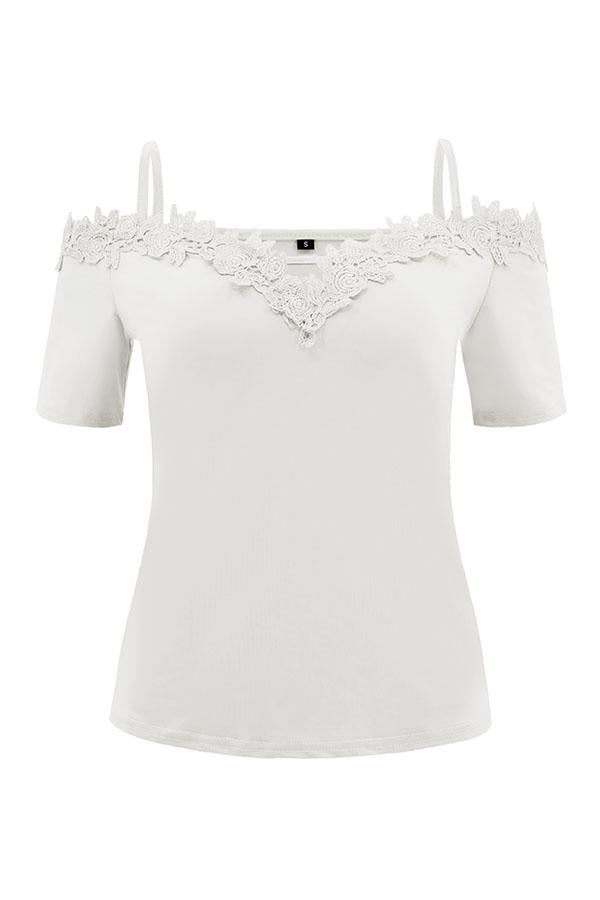 12993a75 ... Load image into Gallery viewer, Spaghetti Strap Plain T-Shirts ...