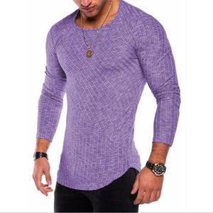 Strip Solid Color Stitching Men's T-Shirt