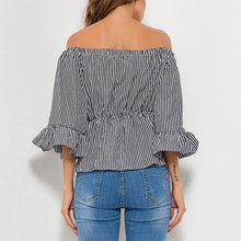 Load image into Gallery viewer, Sexy Off Shoulder Stripe Half Sleeve T-Shirts