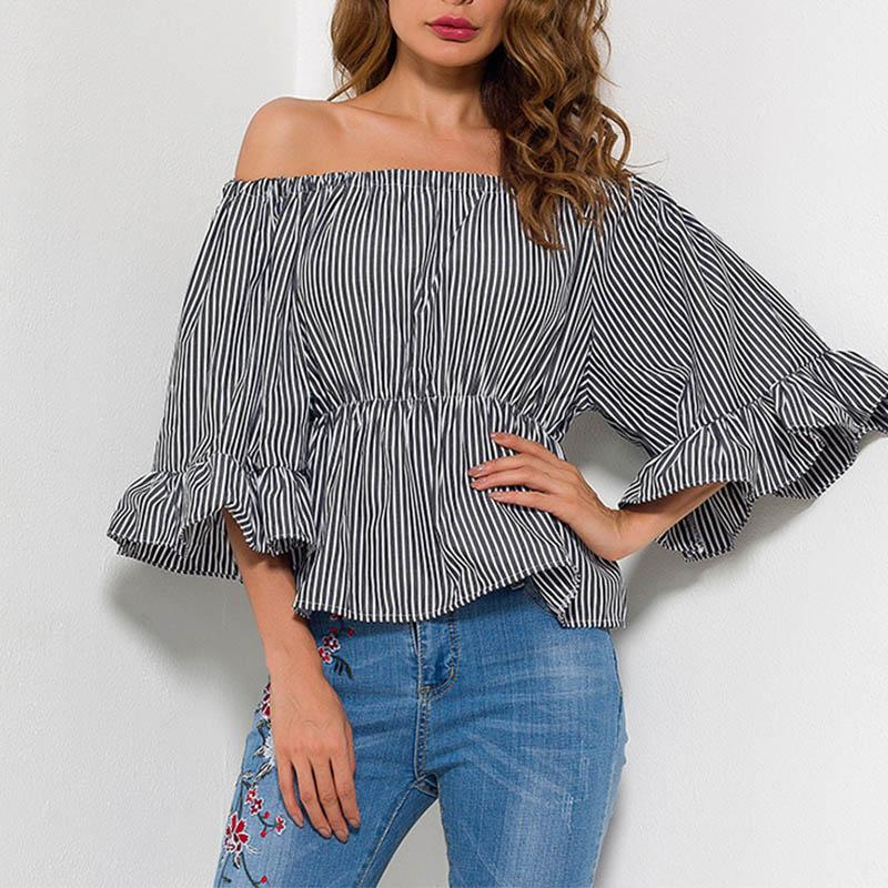 Sexy Off Shoulder Stripe Half Sleeve T-Shirts