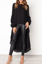 Load image into Gallery viewer, Round Neck  Asymmetric Hem  Plain  Lantern Sleeve  Blouses