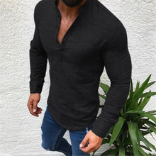 Load image into Gallery viewer, Fashion Masculine Plain V Button Collar Long Sleeve Shirt Top