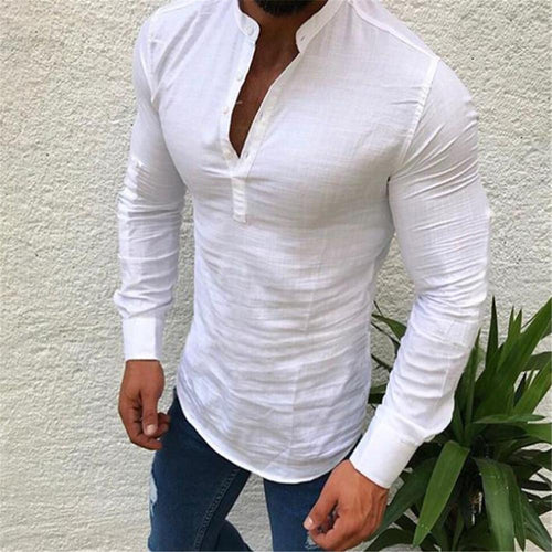 Fashion Masculine Plain V Button Collar Long Sleeve Shirt Top