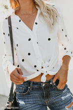 Load image into Gallery viewer, Turn Down Collar  Asymmetric Hem Single Breasted  Dot  Blouses