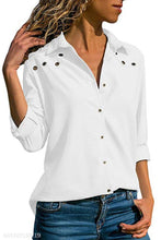 Load image into Gallery viewer, Turn Down Collar Metal Eyelet Plain Blouses