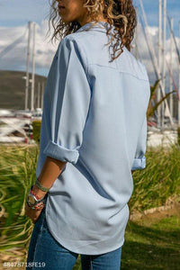 Turn Down Collar Metal Eyelet Plain Blouses
