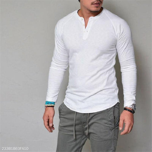 Fashion Mens Casual Loose Plain Long Sleeve Shirts