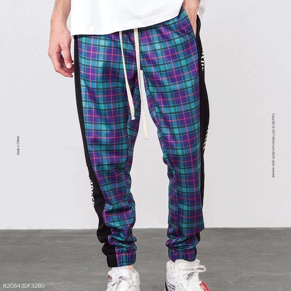 Vintage Split Joint Colorful Check Pants