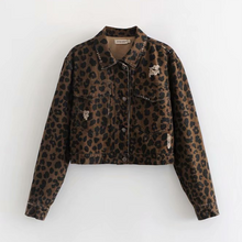 Load image into Gallery viewer, Street Style Leopard Print Short Style Denim Jacket