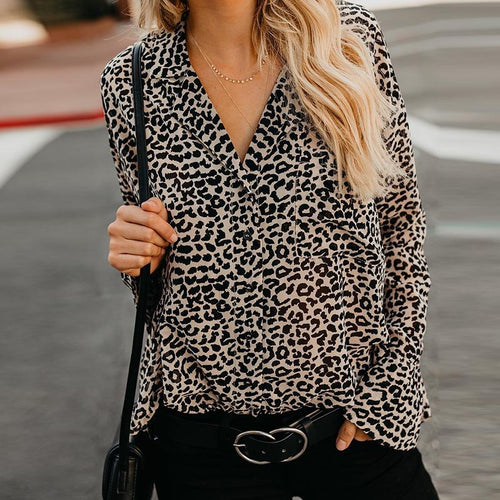 Lapel Leopard Printed Long Flare Sleeve Fashion Blouses