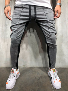 Fashion Split Joint Color Blocking Narrow Leg Opening Pants