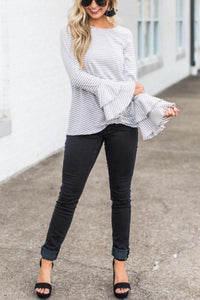 Round Neck  Striped  Bell Sleeve T-Shirts