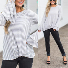 Load image into Gallery viewer, Round Neck  Striped  Bell Sleeve T-Shirts