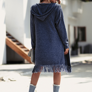 Medium-Length Hooded Cardigan