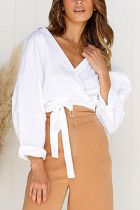 Surplice  Plain Casual Blouses