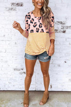 Load image into Gallery viewer, Round Neck  Leopard Striped T-Shirts