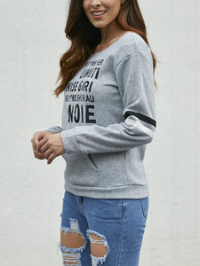 Round Neck Letter Print Long Sleeve T-Shirts