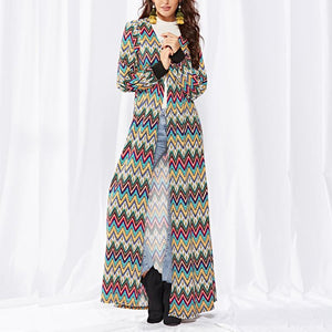 Point Stripe Knitted Long Cardigan