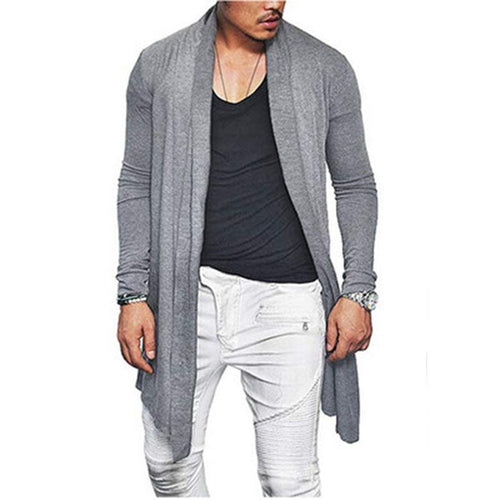 Long Solid Color Long Sleeve Cardigan