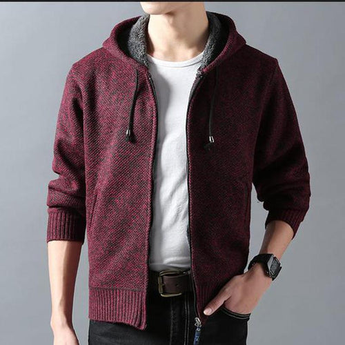 Solid Color Cotton Hooded Cardigan