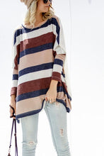 Load image into Gallery viewer, Round Neck  Striped  Batwing Sleeve T-Shirts