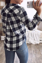 Load image into Gallery viewer, Turn Down Collar  Single Breasted  Gingham  Blouses