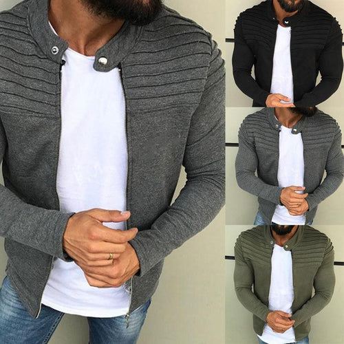 Fashion Mens Solid Color Decorative Jacket