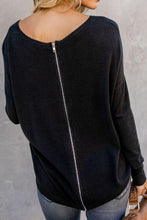 Load image into Gallery viewer, Round Neck  Asymmetric Hem Zipper  Plain T-Shirts