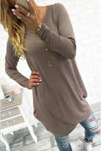 Load image into Gallery viewer, Round Neck  Asymmetric Hem  Plain T-Shirts