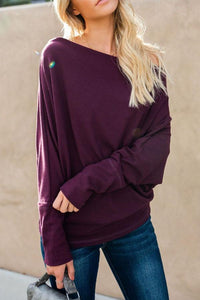 Open Shoulder  Plain  Batwing Sleeve T-Shirts