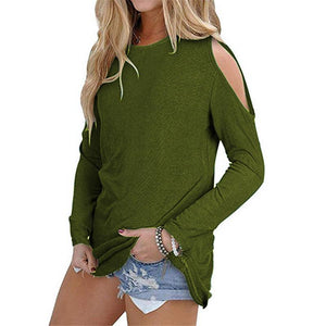 Sexy Shoulder Off Plain Multi-Color Long Sleeve Blouse