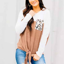 Load image into Gallery viewer, Round Neck Patchwork Long Sleeve Pullover Blouse