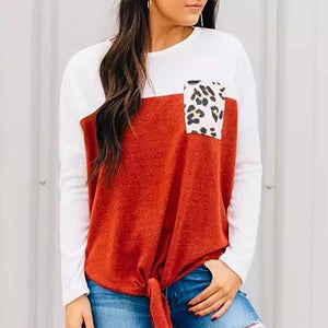 Round Neck Patchwork Long Sleeve Pullover Blouse