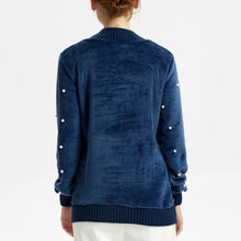 Load image into Gallery viewer, Beading Pure Color Cashmere Pocket Hoodie