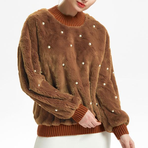 Beading Pure Color Cashmere Pocket Hoodie