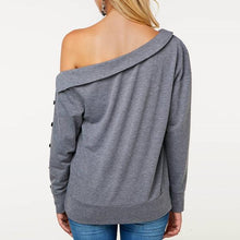 Load image into Gallery viewer, Leaking Shoulder Oblique Collar Button Long Sleeves Hoodie