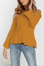 Load image into Gallery viewer, Off Shoulder  Plain  Bell Sleeve T-Shirts