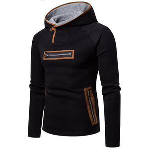 Casual Color Blocking Zipper Slim Hoodie