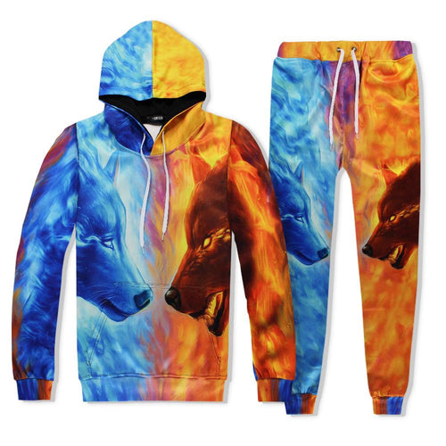 Casual Mens Tracksuit Set Wolf 3D Print Suit